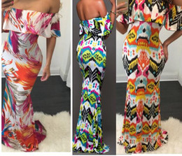 Wholesale Summer Sexy Maxi Dresses - Beach Dress Maxi Printed Sexy Dresses Holiday Summer Long Backless Women Party Hippie Vestidos Leaf Printed Lotus Leaf Sexy Slim Dress