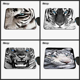 Wholesale High Quality Computer Mouse - Cool Custom White Tiger With Blue Eyes Tumblr, High Quality Anti-skid Fashion Computer and Laptop Rectangle Rubber Mouse Pad