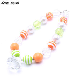 Wholesale Silver Chunky Beads - MHS.SUN Orange Green Halloween Baby Kid Chunky Necklace Newest Toddlers Girls Bubblegum Bead Chunky Necklace Jewelry Gift For Children