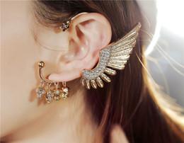 Wholesale Skull Earrings Wings - New Personality Women hoop earrings Skull crystal pendant earrings angel wings tassel buckle earrings free shipping