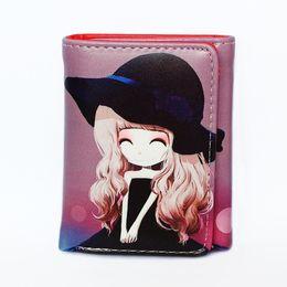 Wholesale Print Small Photos - New Cartoon Printed Womens Wallets Small Zipper Coin Purse Pocket Mini Cute Girls Wallet Cards ID Holder Ladies Purses Women Bag