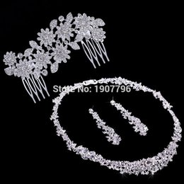 Wholesale Jewelrys Sets - Silver Crystal Wedding Bridal Bridesmaid Jewelry Sets Alloy Necklace Earrings Crown Jewelrys For Women Hot Sale