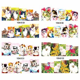 Wholesale Sexy Temporary Tattoo Sheet - Wholesale- YZWLE 1 Sheet 2016 New Arrival Cute Sexy Cat Transfer Sticker Nail Art Decals Nails Wraps Temporary Tattoos Watermark Nail Tools