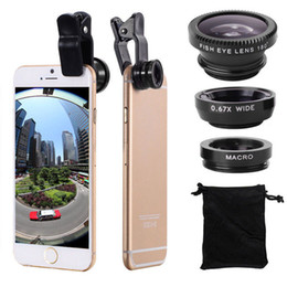 Wholesale iphone fish lens - MOQ:2PCS Universal Fisheye 3 in 1 Wide Angle Macro Lens Smartphone Mobile Phone lenses Fish Eye for iPhone 6 6s 7s Plus