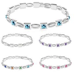 Wholesale purple bangles - 5 Colors White Blue Purple Crystal Diamond Charm Bracelet Women Bangle Cuff Wristband Fashion Jewelry Gifts DROP SHIP 162292