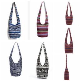 Wholesale Totes Vintage Wholesale - Women Retro Single Crossbody Bags National Creative Canvas Single Barrel-shaped Printed Zipper Shoulder Bags tote 5 color KKA2456