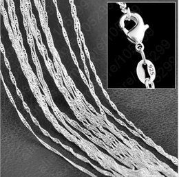 "Wholesale Fine Wave - Wholesale- 10PC Fine Jewelry Findings 16""-30"" Necklace Chains Silver Plated 1.0MM Wave Chain+Lobeter Clasp Jewellery Sets For Pendant"