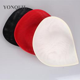 Wholesale Black Hat Base - 30CM heart shape Fascinator Base 3colors Imitation Sinamay hat bridal wedding hair accessories DIY Royal ascot hat party headwear material