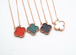 Wholesale Vc Jewelry - 2017 Light luxury jewelry sterling silver VC black A four clover red agate necklace malachite white shell classic chain Pendant Necklaces