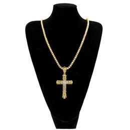 Wholesale Vintage Rhinestone Cross Necklace - Bling Iced Out Rhinestones Vintage Cross Pendant Necklace Gold&Silver Color Hip hop Fashion Jewelry Men Women