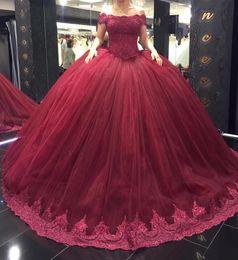 Wholesale Abito da ballo rosso vino Quinceanera abiti da sera con maniche corte e maniche lunghe