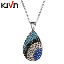 Wholesale Graduation Pendant Necklace - KIVN Fashion Jewelry Turkish Blue eye Pave Cubic Zirconia Women Girls Bridal Wedding Pendant Necklaces Graduation Birthday Gifts