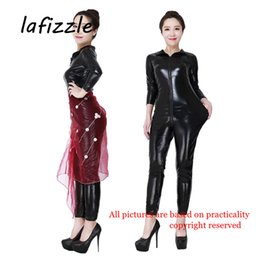 Wholesale Sexy Custom Lingerie - LAFIZZLE Plus size sexy Lingerie Pvc catsuit bodysuit XS- 7XL for Women Black Wet Look Metallic Costumes