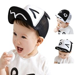 Wholesale Baby Baseball Hat Beret - Spring Summer White and Black Baby Baseball Hat Baby Hats Baseball Cap Baby Boy Beret Wave Rivet Outdoor Baseball Sun HatCap