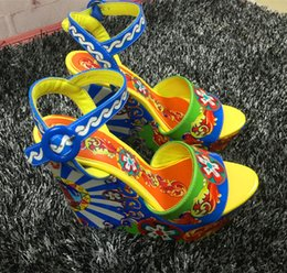 Wholesale Sexy Colorful Wedges - High Platform Print Sandals Brand Geuine leather Embroidery Colorful Sexy Summer Gladiators Ladies Shoes Wedges Heel High Pumps Wedding Shoe