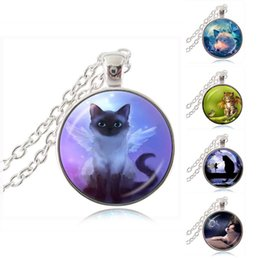 Wholesale Wholesale Angels Glass Wings - Cute Grey Fairy Cat Photo Necklace Angel Wing Cat Pendant Kitten Jewelry Animal Sweater Necklace Glass Dome Handmade Jewellery