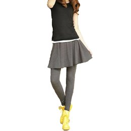 Wholesale Ankle Length Skirted Leggings - Wholesale- Autumn Winter Female winter Thick Warm pants Fitness Women's Skirt Leggings Elastic Two Piece Stretched Pants For Lady Leggins