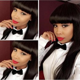Wholesale Top Hair Bangs - Top quality simulation human hair long silky straight wigs with full bang in stock free shipping
