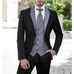 Wholesale Hot Suits For Men - Free Shipping New Style Men Suit With Sliver Grey Vest Tuxedos Groomsmen Slim Fit 3 Piece Set,For Men Wedding Suit Hot sale