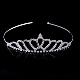 Wholesale plates ball - Hot Sale Beautiful Shiny Crystal Bridal Tiara Party Pageant Silver Plated Crown Hairband Cheap Wedding Accessories 2018 New Design