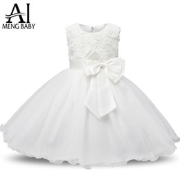 Wholesale Baby Clothes Military - Ai Meng Baby Flower Princess Girl Dress Wedding First Birthday Newborn Baby Baptism Clothes Toddler Kids Party Dresses For Girls