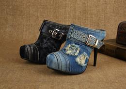Wholesale Blue Jeans Heels - Special Designer Denim Fashion Slipper Buckle High Quality Canvas Super High Heels Jeans Shoes Women Summer Novelty Punk Slipper