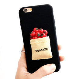 Wholesale Black Apple Fruit - Cartoon Cute 3D Hard PC Frosted Case For iphone 6 6s 7 4.7 5 5 Fruit Food Pattern Candy Color Phone Shell Back Skin Anti-knock Cover