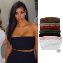 Wholesale Red Tube Top Bra - high elasticity Tube Top bra Women Summer Strapless Bandeau Top Sexy beach seamless Crop Top Black Beige pink red tops
