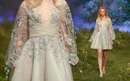 Wholesale Mini Dress Nude - Paolo Sebastian 2017 Evening Dresses Beaded Applique Party Gowns Juliet Long Sleeve Plus Size A Line Prom Dress