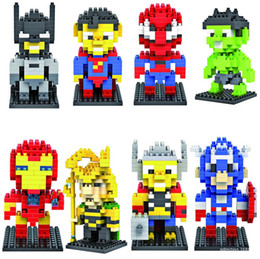 Wholesale Spiderman Blocks - 8pcs LOZ Nano Diamond Marvel spiderman Heroes Avengers 3D Educational thor Bricks Blocks Compatible Legoe Figures Toys 9152-9159