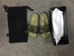 Wholesale Silver Bowtie - 2017 Rihanna Fenty Courtly Style Bowknot Slides Green Black White Slide Sandal Womens Slippers Pool Slide Sandals With Shoes Box Dust Bag