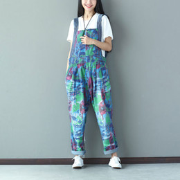 Wholesale Ladies Animal Print Jumpsuits - Wholesale- Women Gradient Printed Holes Vintage Jumpsuits Ladies Denim Loose Overalls Female Rompers Denim Trousers Pants Colorful