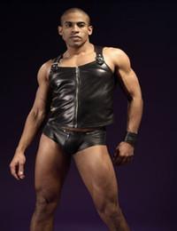 Wholesale Leather Briefs Xl - Men Sexy PU Faux Leather Lingerie Set Black Sleeveless Zipper Tops Clubwear Fetish Briefs Wrestling Singlet Costume