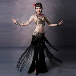 Wholesale Tribal Dance Scarves - Size S-XL Belly Dancing Clothing Tribal 3pcs Coins Bra, Tassel Hip Scarf Long Tribal Pants Belly Dance Costume Set Performance