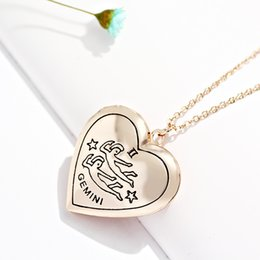 Wholesale Heart Locket Photo Frame Necklace - 12 Zodiac Heart-Shaped Photo Locket Frame Charm Pendant Necklace 12 Constellation necklace for women Jewelry