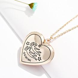 Wholesale Diamond Necklace Photos - 12 Zodiac Heart-Shaped Photo Locket Frame Charm Pendant Necklace 12 Constellation necklace for women Jewelry
