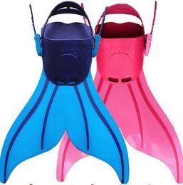 ef76f3509dd Automatic locking Wave Fins Kid Free Swimming Fins Training Flipper Mermaid  Kel Shoes Tail Diving Scuba Snornt Feet Tail Monofin
