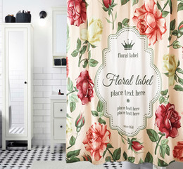 Wholesale Rose Floral Print Fabric - High Quality Rose Printed Shower Curtains Thicken Polyester Bathroom Curtains Waterproof Moldproof Fabric Floral Shower Curtains For Door
