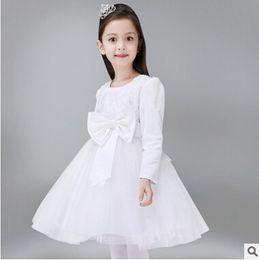 Wholesale Short Sleeved Ball Wedding Gowns - New Korea style children wedding dress long sleeved princess sweet skirt stage costumes presenter clothing