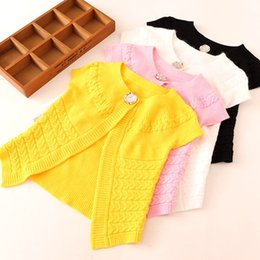 Wholesale Short Sleeve Girl Cardigan - New Girls Sweaters Knitting Big Girls Sweater Embroidered Flower Fashion Short Sleeve Sweater Tops Knited Shawl Cardigan 4 Colors A6955