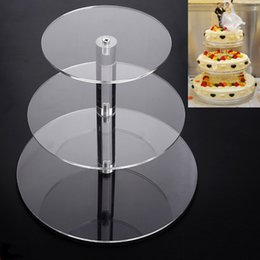 Wholesale Cupcakes Displays - Transparent Cupcake Stand Acrylic Shelf Single Column Circular Frame Cosmetics Display Rack With Three Layers For Holder Wedding 45 5yb H R