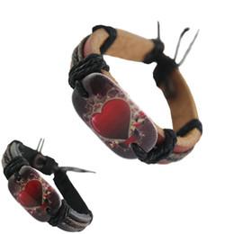 Pulseiras vogue on-line-ajustável pulseira de couro genuíno marrom preto por atacado lotes vogue hot amor coração cadeia homens mulheres pulseira artesanal pulseira (DJ095)
