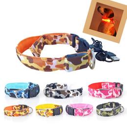 Wholesale Wholesale Usb Necklace - Pet Dog USB Puppy Rechargeable Led Adjustable Luminous Nylon Necklace Night Safety Flashing Glow Camouflage Collar S201772