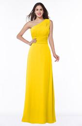 Argentina El último vestido largo de la gasa de la gasa amarilla elegante vestido de moda plisado para la longitud del piso de la dama de honor 2017 Nuevo cheap yellow pleated bridesmaid dresses Suministro