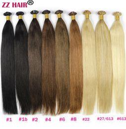 "Wholesale Keratin Remy Human Hair - ZZHAIR 16""-24"" Flat Tip Remy Hair 100% Brazilian Human Hair Extensions 100s pack Capsule Keratin Hair 100g"