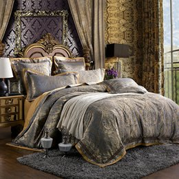 Wholesale Damask Satin - Wholesale-6pcs   set Luxury Silk bedding set king size Damask European palace style satin silk bed sheet sets noble duvet cover set