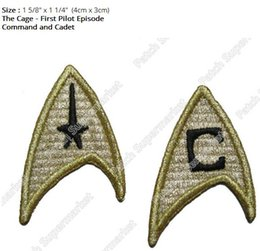 Wholesale First Movies - Star Trek The Cage First Pilot Episode Collection Iron On Patches Command and Cadet TV Movie series Embroidered badge costume