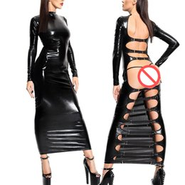 Wholesale Clubwear Body - Hot Sexy Female Black Faux Leather Latex Backless Hollow Out Dress Catsuit Body Bondage Night Clubwear Pole Dance Costumes