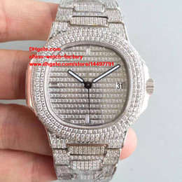 Wholesale Best Movements - Best Edition DM Factory 18k White Gold 40.5mm Nautilus 5719 1G-001 Full Diamond Swiss CAL.9015 324S Movement Automatic Mens Watch Watches