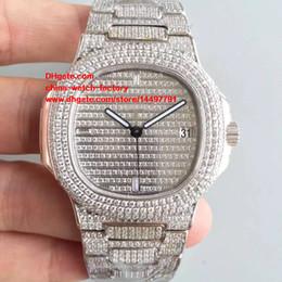 Wholesale Swiss Sapphire - Best Edition DM Factory 18k White Gold 40.5mm Nautilus 5719 1G-001 Full Diamond Swiss CAL.9015 324S Movement Automatic Mens Watch Watches
